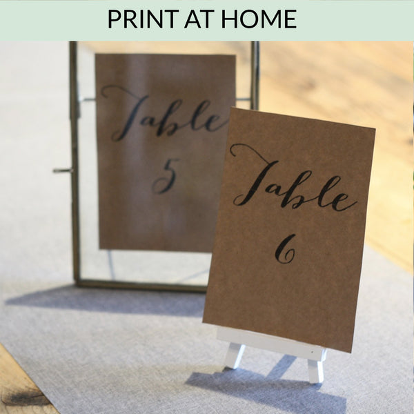 Printable: Table Numbers (Calligraphy Style)