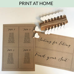 Table Plan Cards 1 - 20: Printable / Instant Download - Rustic Chic