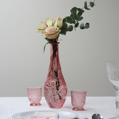 Tall Pink Pressed Glass Vase available from The Wedding of my Dreams