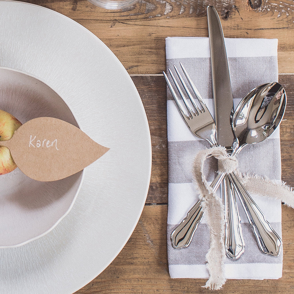 Wedding place settings - Taupe Linen Ribbon with Frayed Edges available from The Wedding of my Dreams