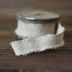 Taupe Linen Ribbon with Frayed Edges