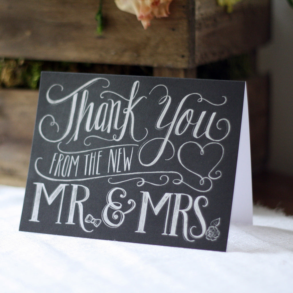 Thank You From The New Mr & Mrs - Chalkboard Calligraphy Card