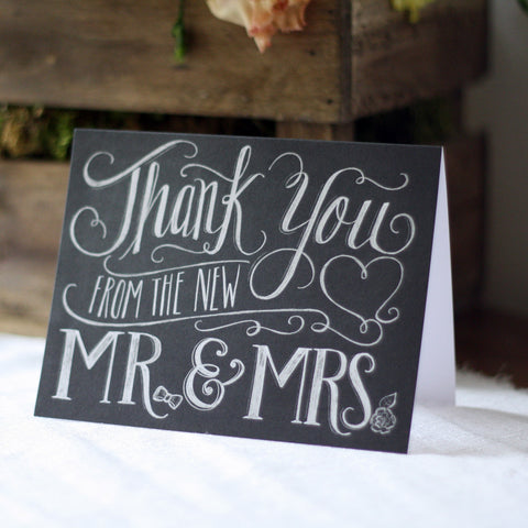 Thank You From The New Mr & Mrs - Chalkboard Calligraphy Card - Pack of 8