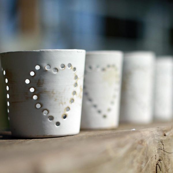 distressed white tea light holders with hearts