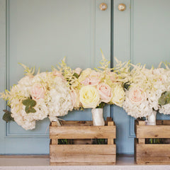 Wooden Crate Boxes to Deliver Wedding Bouquets