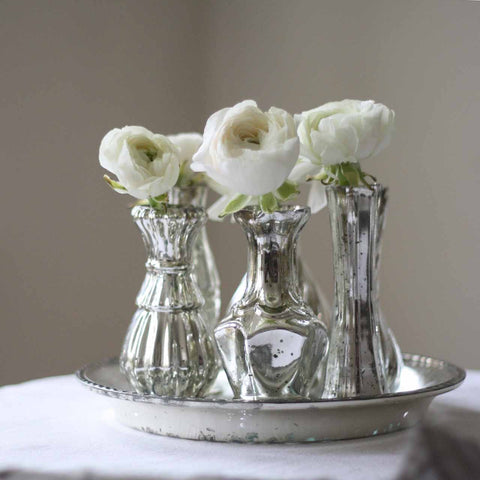 Mercury Silver Wedding Centrepiece Tray with 6 Vases