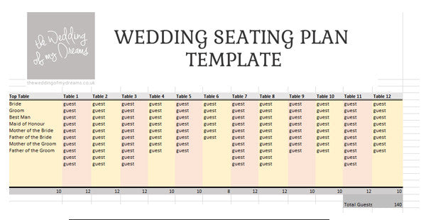 wedding seating plan template planner free download the