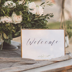 welcome wedding sign - printable print at home olive leaf design