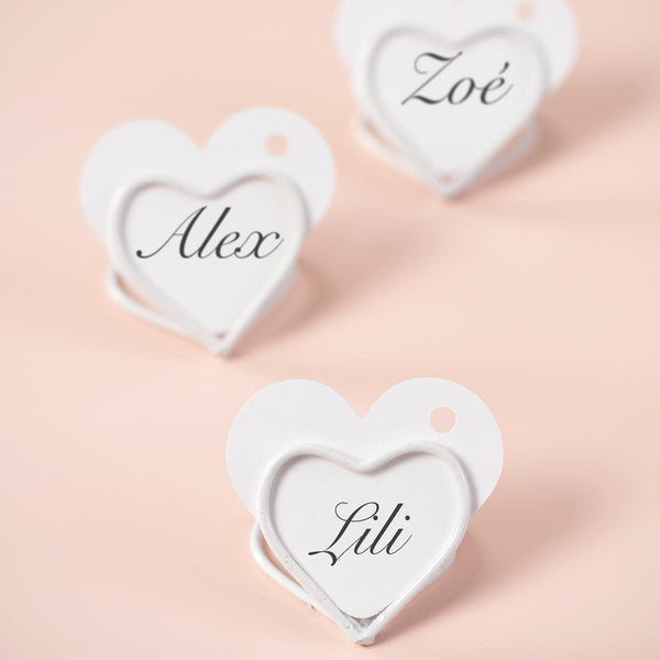 White wedding decorations shop online page 3 the wedding of my 2 x white heart name card holders small theweddingofmydreams junglespirit Image collections