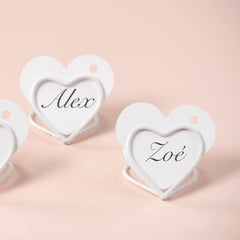 2 x White Heart Name Card Holders Small www.theweddingofmydreams.co.uk