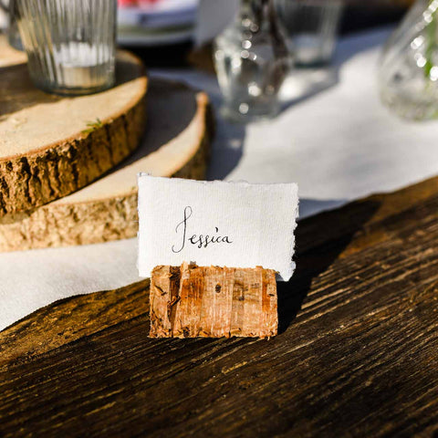Rustic Wooden Bark Card Holders - Set Of 4