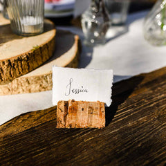 Rustic Wooden Bark Card Holders - Set Of 4 - available from @theweddingomd