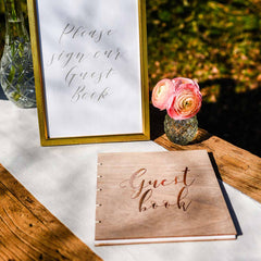 Bronze and Wood Wedding Guest Book available from The Wedding of my Dreams