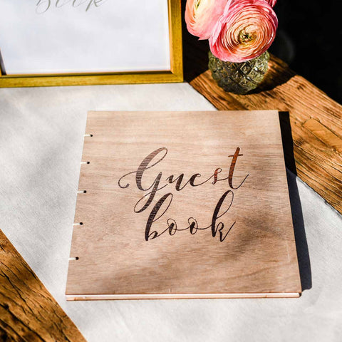 Bronze and Wood Wedding Guest Book