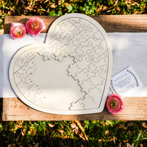 Wooden Heart Jigsaw Puzzle Wedding Guest Book