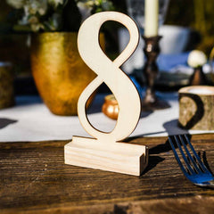 Wooden Table Numbers 1 – 12 Free Standing – Modern Calligraphy