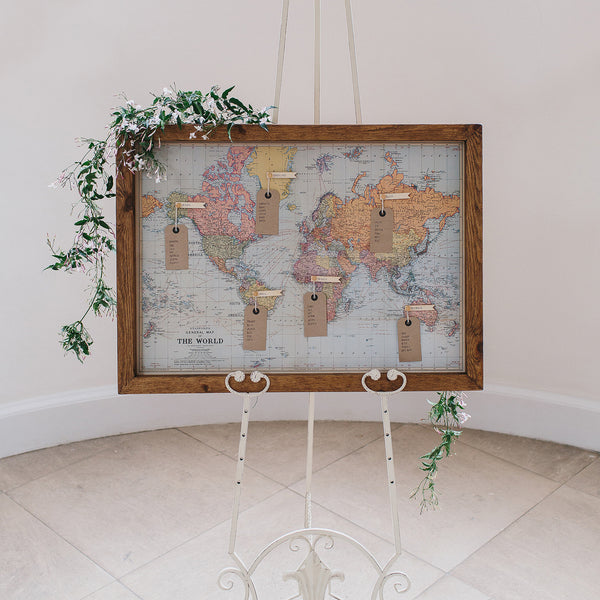 World Map Print Wedding Table Plan available to buy from The Wedding of my Dreams