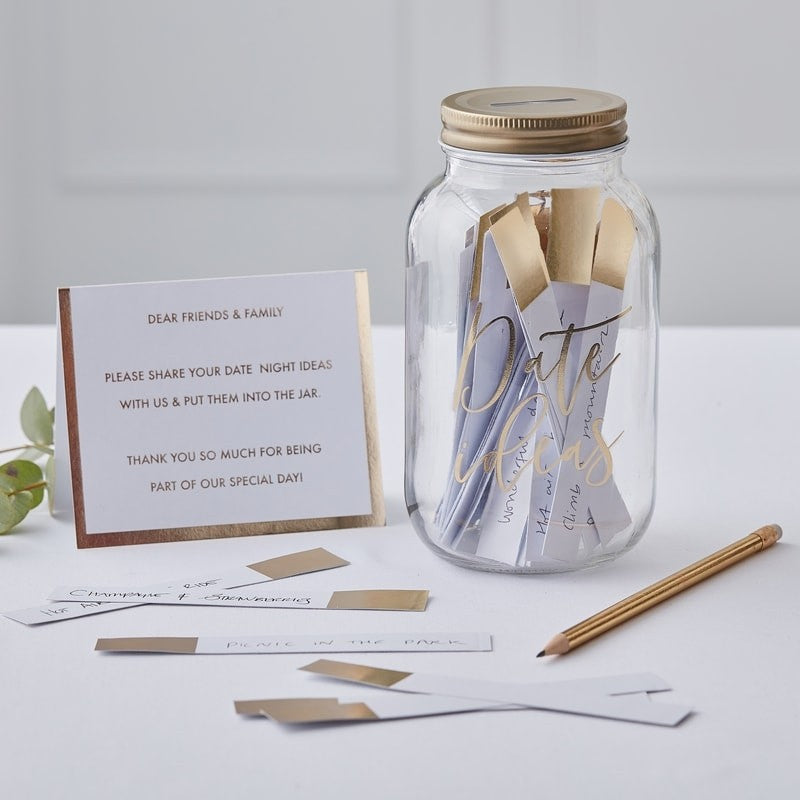 Date Night Ideas Jar Gold - Alternative Wedding Guest Book