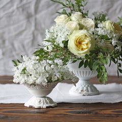 Antique White  Compote vase wedding tablecentre - The Wedding of my Dreams