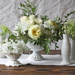 Antique White  Compote vase wedding table centrepiece - The Wedding of my Dreams