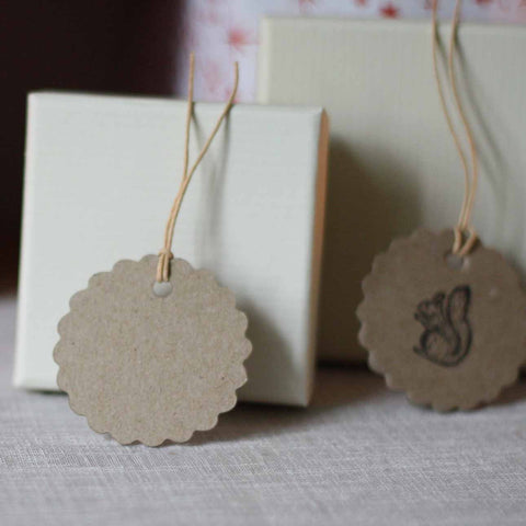 Brown Blank Gift Tags With Scalloped Edges – Pack Of 12