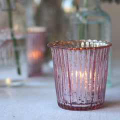 Ribbed Mercury Glass Tea Light Holder Blush Pink