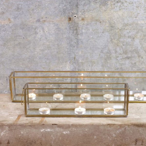 Long Glass and Mirror Tea Light Holder with Brass Metal Frame Fireplace Decorations at Weddings - Buy Online from @theweddingomd