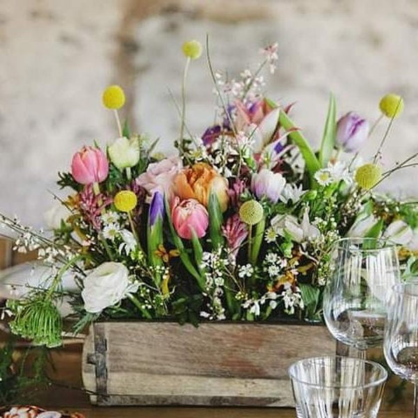 Rustic Wooden Brick Mould Wedding Box Centrepiece The Wedding of my Dreams florals by Issy and Bella