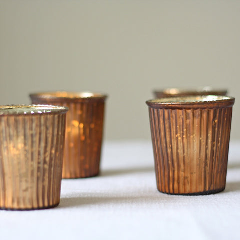 Ribbed Mercury Glass Tea Light Holder Bronze