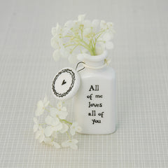 Tiny White Ceramic Bottles With Quotes