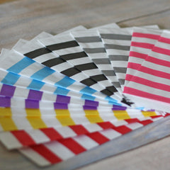 Coloured Paper Stripe Candy Bags x 20 (various colours available)