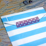 blue striped paper bags craft wedding project