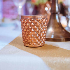Quilted Glass Copper Tea Light Holder