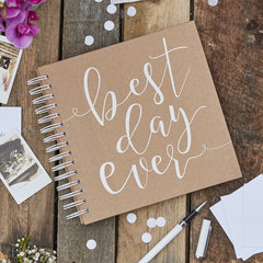 Best Day Ever Wedding Guest Book with Envelopes