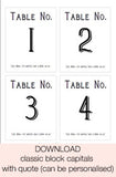 Wedding Table Numbers Template For Wine Bottles - Free Printable