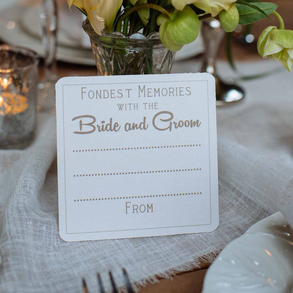 alternative wedding guest book fondest memories with bride groom coasters
