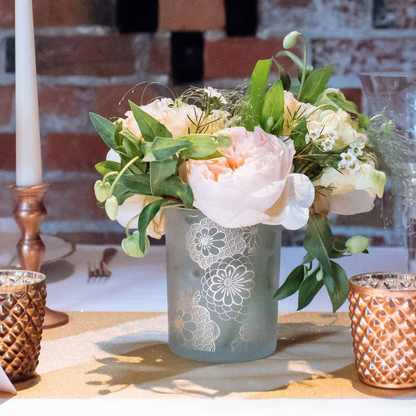 Frosted Vase or Votive Holders with Floral Design