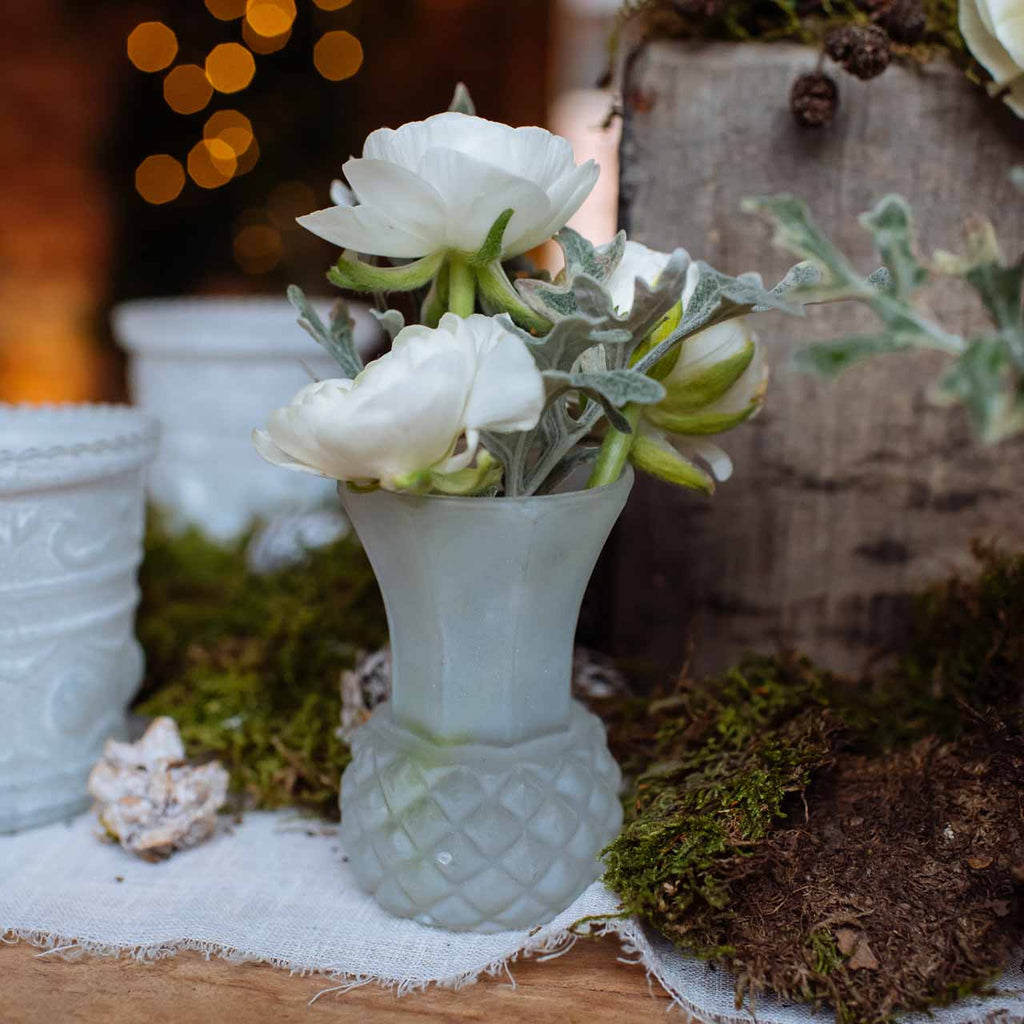 Frosted white glass bud vase the wedding of my dreams - Glass vases for wedding table decorations ...