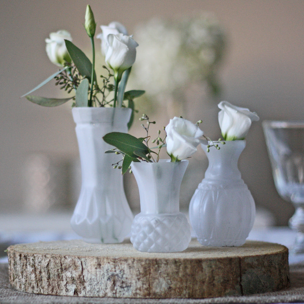 Frosted White Glass Bud Vase wedding table decorations