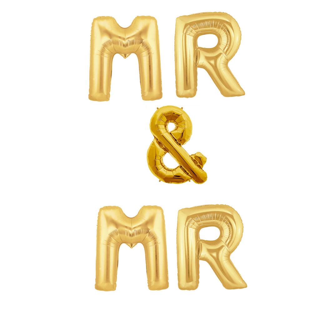 gold wedding balloons mr & mr