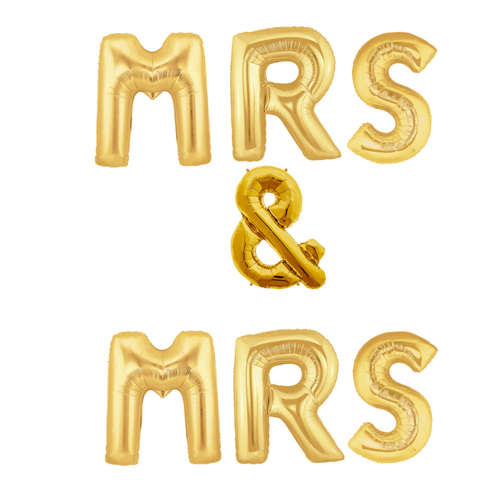 Gold MRS & MRS Balloons