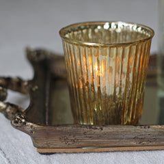 distressed gold tea light holders