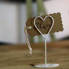 white heart place card holders name cards available from The Wedding of my Dreams