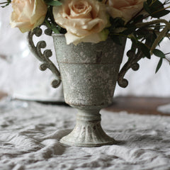 Grey footed urn with handles wedding centrepiece container - www.theweddingofmydreams.co.uk