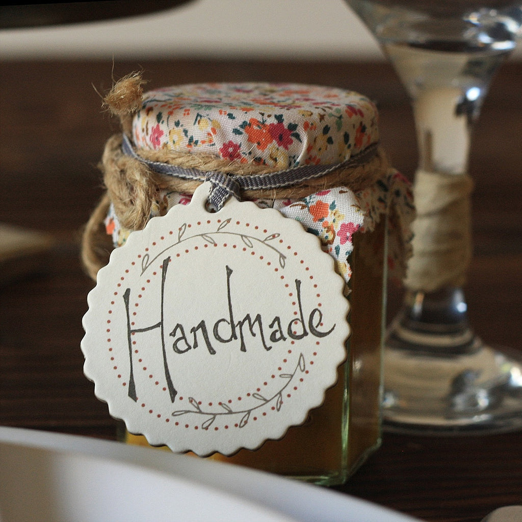 Handmade Round Gift Tags for wedding favours jam chutney