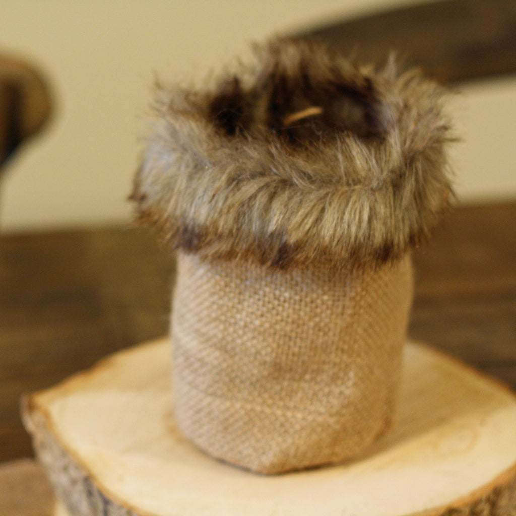 Fur Edged Hessian Bag