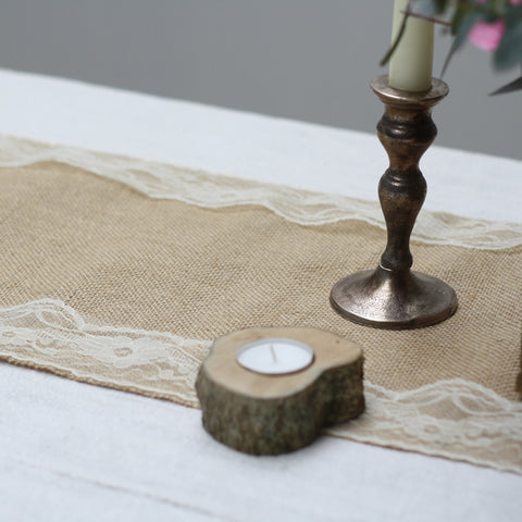 Hessian Table Runner Lace Edging 2m