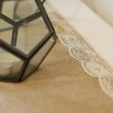 Hessian Table Runner Lace Edging 2m available from @theweddingomd The Wedding of my Dreams