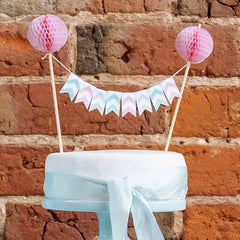 Pastel Flag Bunting Wedding Cake Topper