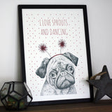 Pug Christmas Print In Frame